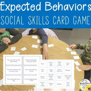 This social skills game is a fun way to discuss examples of expected and unexpected behaviors with students! With a limited number of response cards students have to think creatively to choose the best option for the scenario's expected behavior. Directions: Give each student 4 response cards.