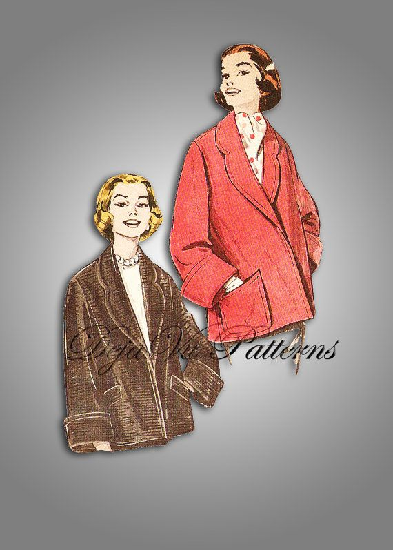 Butterick 8467 Vintage 1950s Topper Jacket Sewing Pattern by DejaVuPatterns