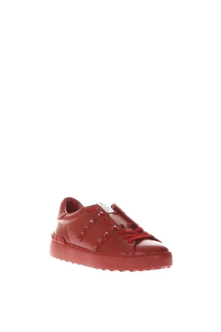 VALENTINO GARAVANI | Valentino Garavani Valentino Garavani Rockstud Untitled Red Leather Sneakers #Shoes #Sneakers #VALENTINO GARAVANI