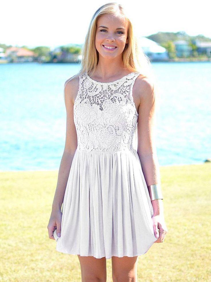 Buy short white lace dress.