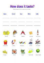 sense of taste activities | it taste a worksheet in which students need to identify foods by taste ...