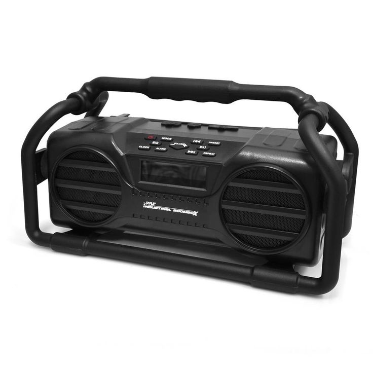 Pyle Industrial BoomBoX Bluetooth Stereo Speaker, Rugged Water-Resistant Radio Boom Box, Rechargeable Battery, MP3/USB/SD/AUX- Black