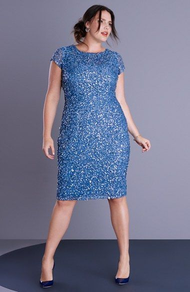 Adrianna Papell Beaded Cap Sleeve Sheath Dress (Plus Size) available at #Nordstrom