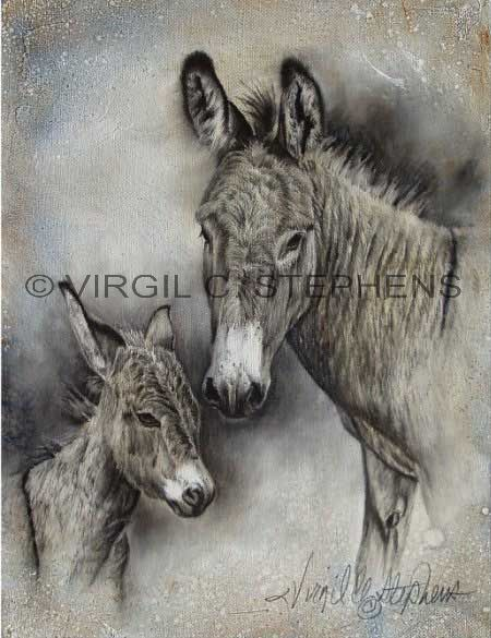 Dolly and Jackrabbit were pets of ours, New Arrival, giclee print from the original oil painting by Virgil C. Stephens
