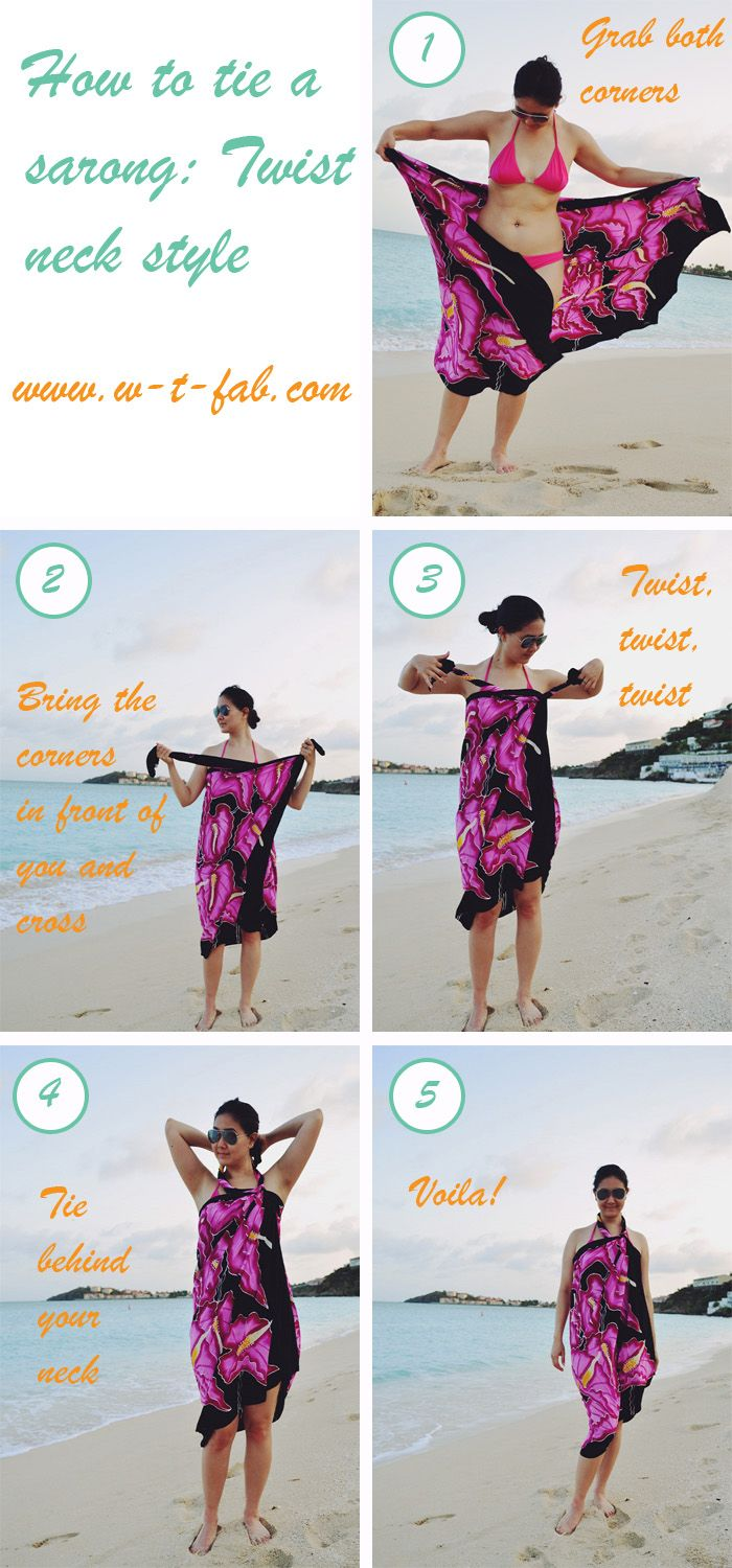 how to tie a sarong - twist neck style