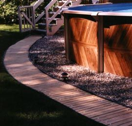 Wooden Walkway Around The Pool Best For Barefeet