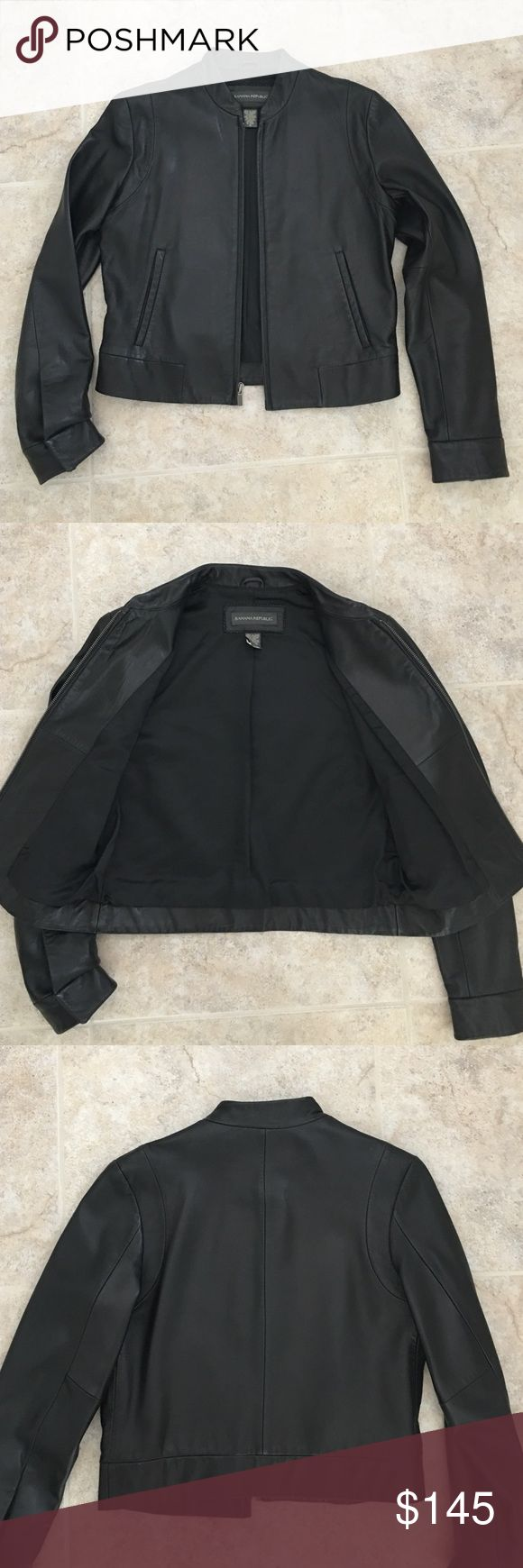 Banana Republic Classic Black Leather Jacket Genuine Banana Republic timeless and soft leather jacket. New! No tags. Zipper closure with side pockets. Banana Republic Jackets & Coats