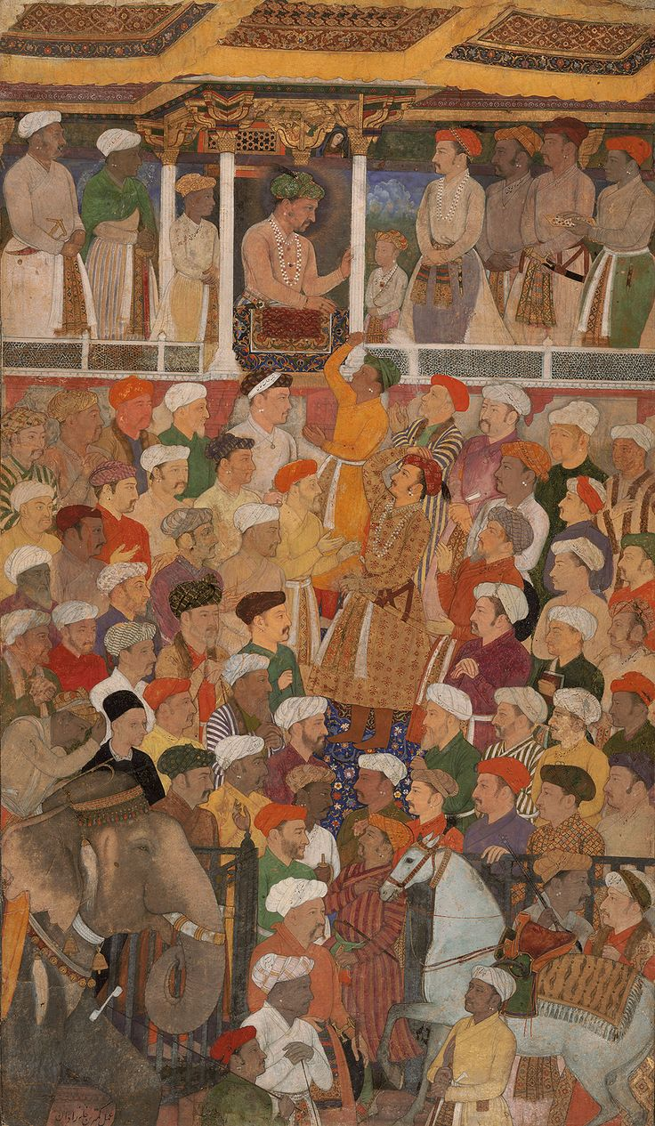 Jahangir in Darbar, from the Jahangir-nama, c. 1620. Gouache on paper.