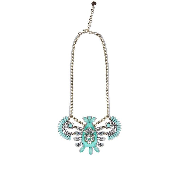 Green Gem Necklace With Rhinestones Detail