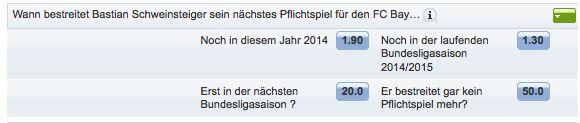 Wann bestreitet #BastianSchweinsteiger sein nächstes Pflichtspiel für den #FCBayern. https://www.mybet.com/de/sportwetten/wettprogramm/fussball/deutschland/1-bundesliga