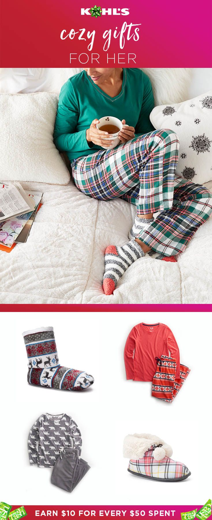 Who wouldn't want to cozy up with a new pair of pajamas or slippers on Christmas morning? Make sure she has the coziest winter yet with cute pajama sets and slippers under the tree. Plus, earn $10 Kohl's Cash for every $50 you spend. Find all the best Christmas presents at Kohl's. #shopping #gifts