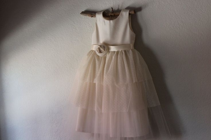 Very Vintage style Flower Girl Dress natural by OliveandFern