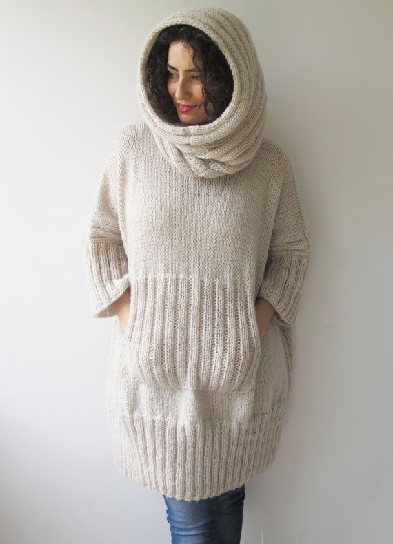 Ecru Plus Size Dress Sweater with Accordion Hood and от afra
