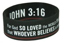 WRISTBANDS: JOHN 3: 16  Size: 63 x 25 mm  Individually packaged on a backing board