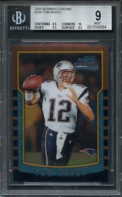 2000 bowman chrome #236 TOM BRADY patriots rookie card BGS 9 (8.5 10 9.5 9.5)