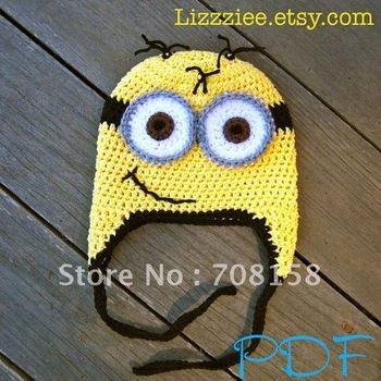free shipping, 5pairs/lot children 100% cotton hat flowers Beanie-Despicable Me Minion Hat Pattern - Crochet hat