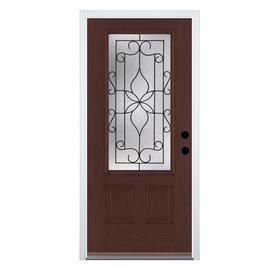 Shop Therma-Tru Benchmark Doors Florentino 2-Panel Insulating Core 3/4 Lite Left-Hand Inswing Dark Mahogany Fiberglass Stained Prehung Entry Door (Common: 36-in x 80-in; Actual: 37.5-in x 81.5-in) at Lowes.com