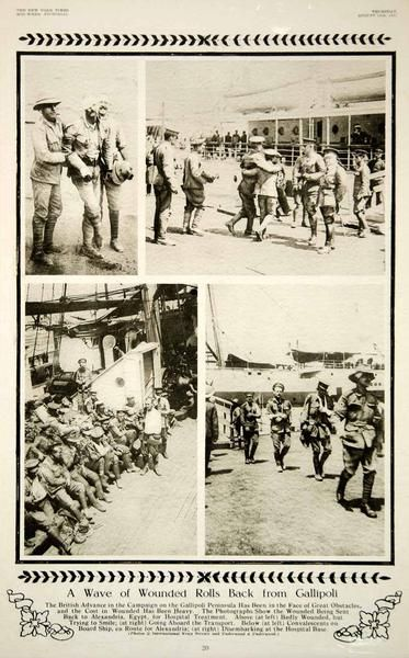 """""""A Wave of Wounded Rolls Back from Gallipoli"""" This is an original 1915 duotone rotogravure with images of wounded British soldiers from the Gallipoli Campaign of World War I. The Gallipoli Campaign wa"""