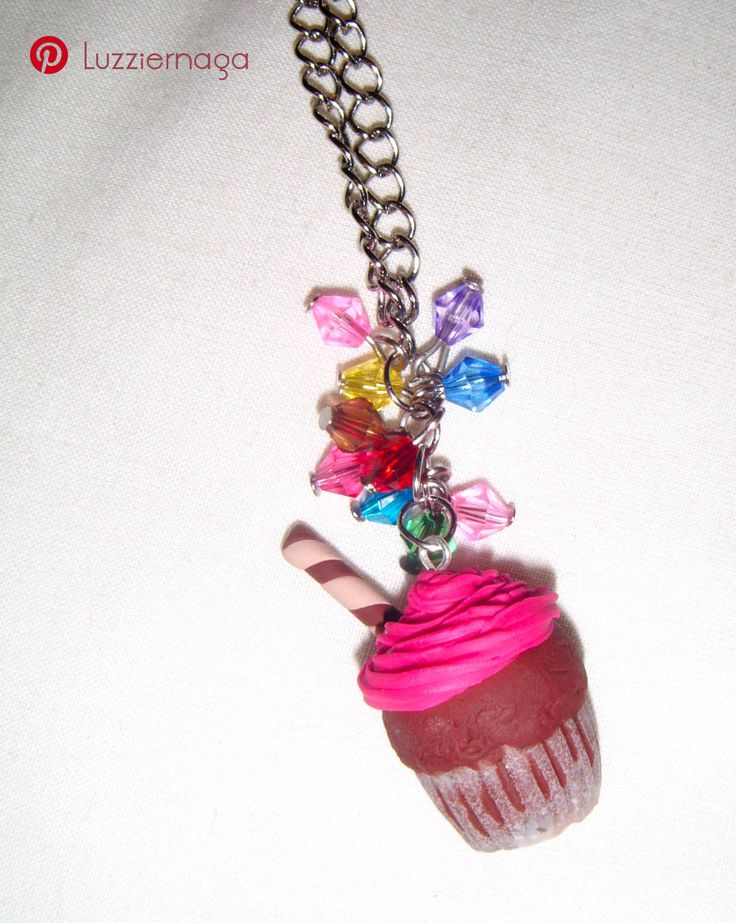 Cupcake charm made with polymer clay