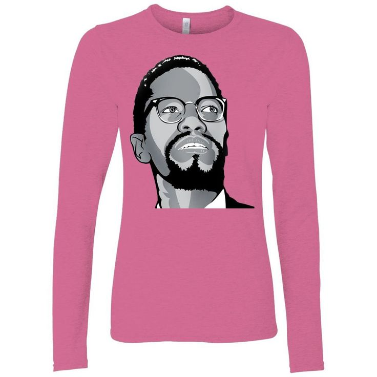 Malcolm X Gazing Ladies Long Sleeve Shirts. When the temperature goes down, it's important to have comfortable quality clothes you can rely on to keep you warm and make you look good. These long sleeve shirts are perfect for an end of summer night-time walk. Have with your favorite Chocolate Ancestor design, and you will always stand out from the crowd. Facts:   Malcolm X was a black political activist, speaker, and Muslim minister.     He was born in Omaha, Nebraska, on May 19...
