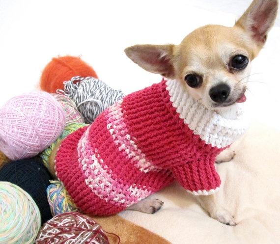 Free shipping Handmade Crochet Dog Pets Sweater Pink by myknitt, $25.00
