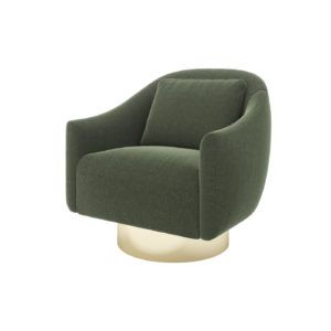 Laskasas | Decorate Life | www.laskasas.com | Living Room Ideas | Donald Armchair is presented here with green fabric upholstery and gilded stainless steel footer. A modern armchair with a vintage touch for a perfect decor