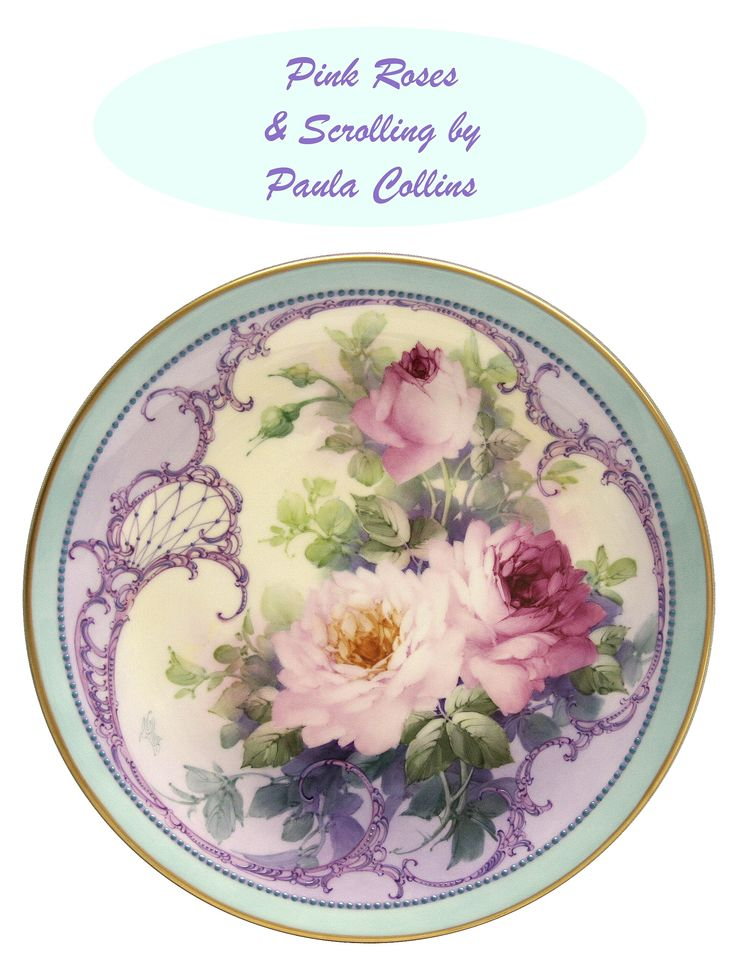 Pink Roses hand-painted plate by Paula Collins.