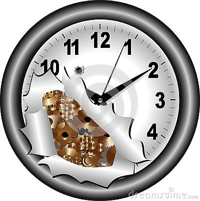 Gray clock with bronze gears and precise timing and simple background