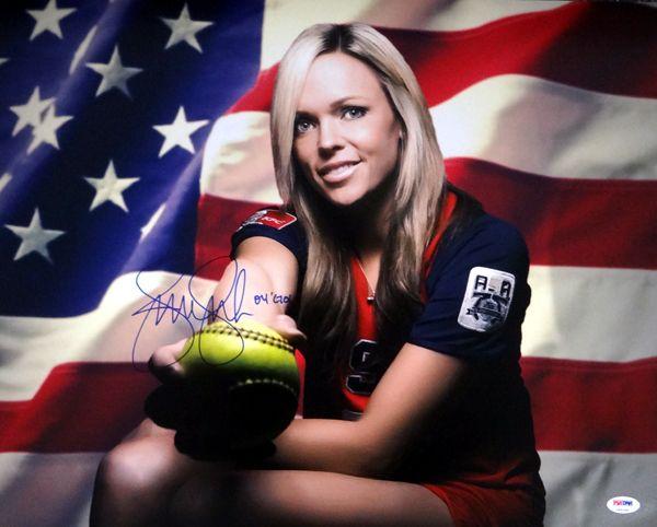 "Jennie Finch Autographed 16x20 Photo Team USA """"04 Gold"""" PSA/DNA Stock #63693"