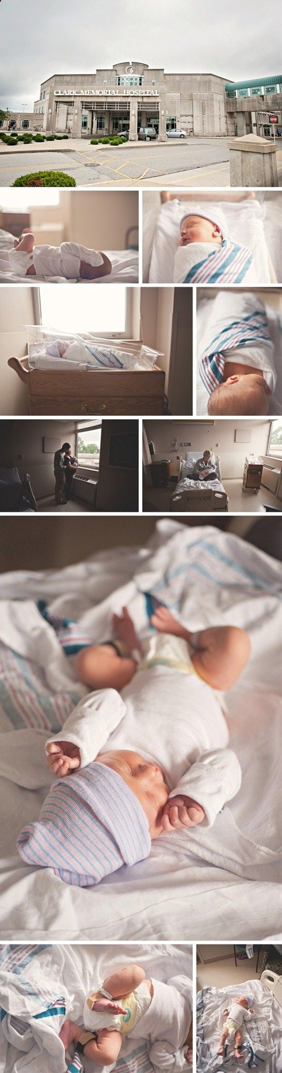 sweet newborn photos (good idea to take a photo outside the hospital)