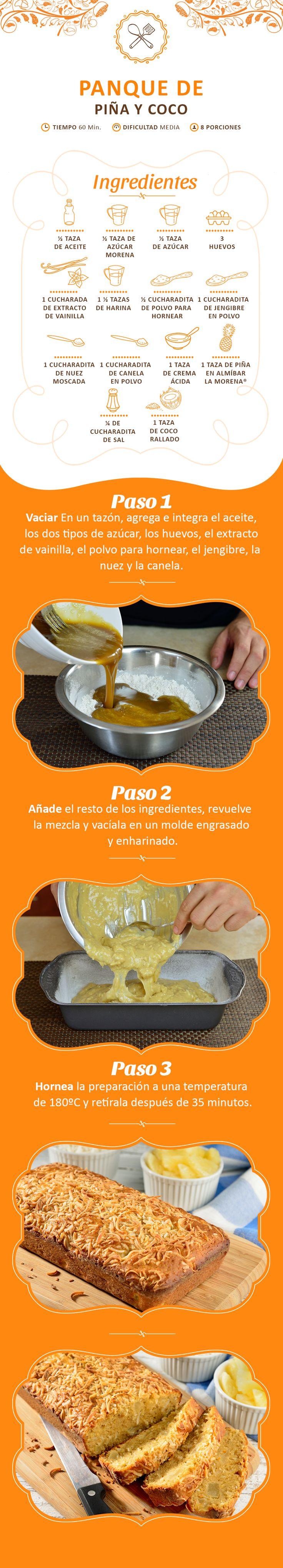 Si te gustó la receta de Panqué de Piña y Coco ahora podrás llevarla en tu celular. ¡Sólo descarga este pin y a disfrutar!