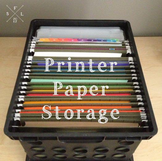Printer Paper Storage Idea // SimplyFabulousLiving.com