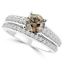 Matching Champagne-Brown Diamond Engagement Ring Set