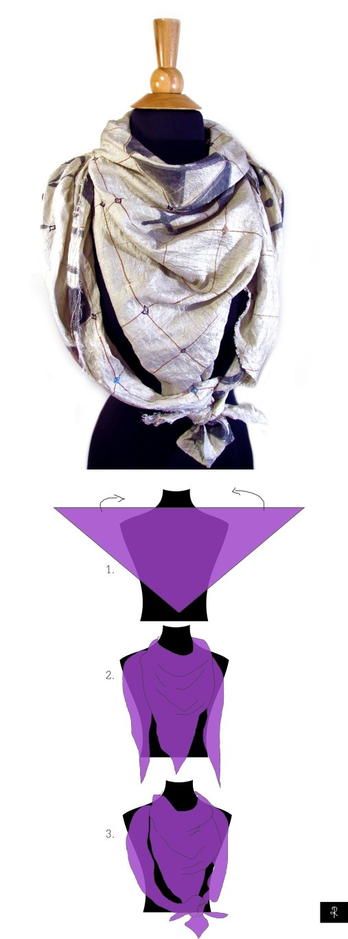 How to tie a triangle scarf. Works with a square too, just fold it in two diagonally.  [1] place the triangle #scarf flat on your chest and push the other two corners at the back [2] bring the two corners back to front wrapping them around neck [3] tie all three corners into a knot. #Rannka