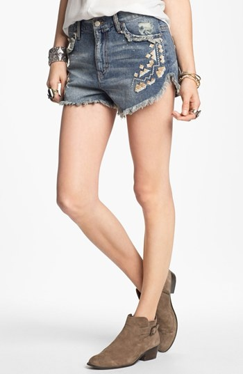 Free People 'Tulum' Vintage Denim Cutoff Shorts (True Blue) available at #Nordstrom