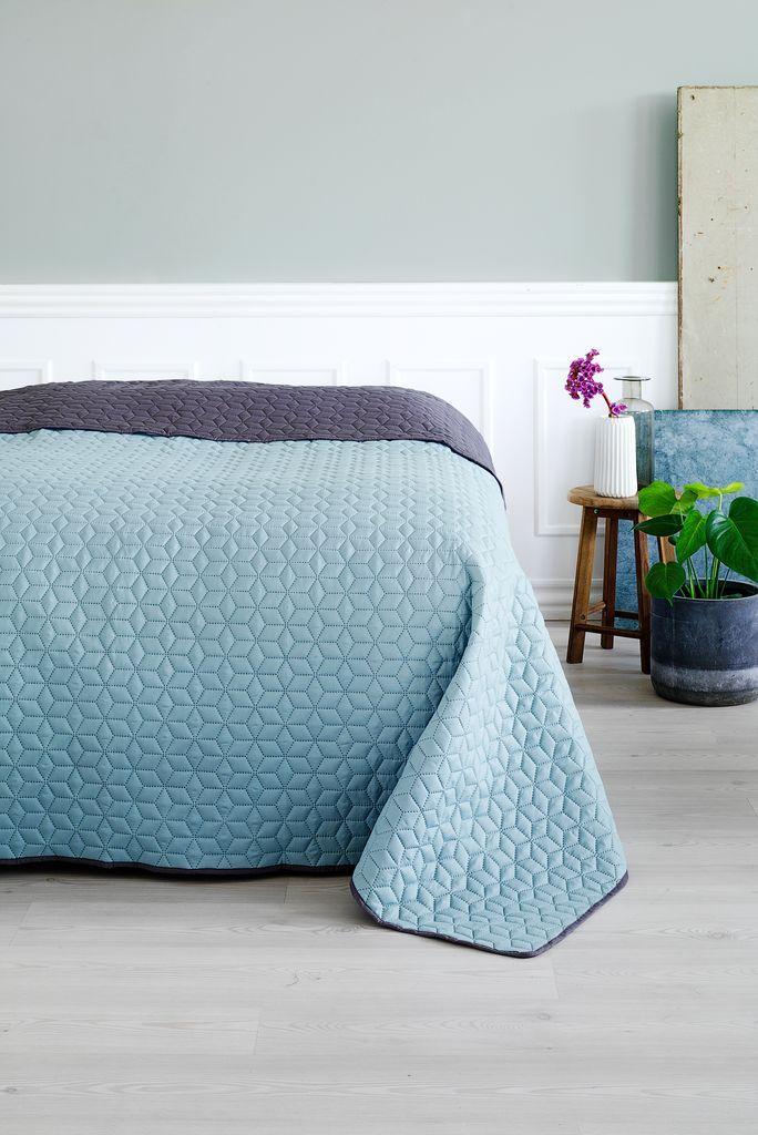 Sängöverkast ROSENTRE 220x240cm grå/blå | JYSK