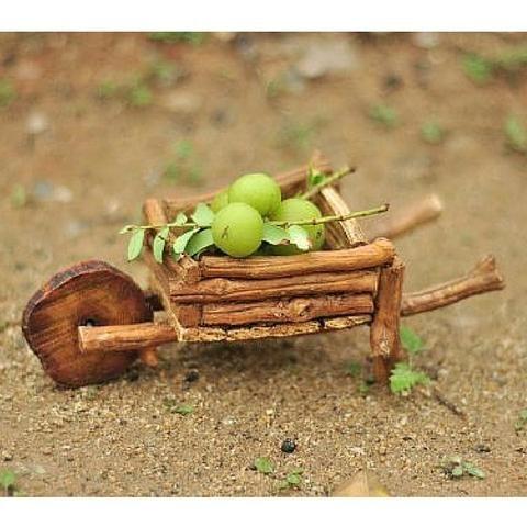 Faux Wood Wheelbarrow. www.teeliesfairygarden.com . . . When fairies harvest green apples they made sure that they only use a faux wooden wheelbarrow so that the green apples will not spoil. #fairywheelbarrow