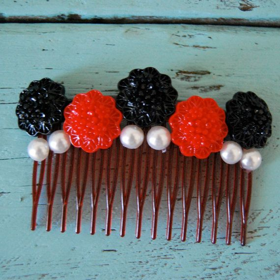 Red and Black Hair Comb Floral Hair Comb by DockedAndHome on Etsy