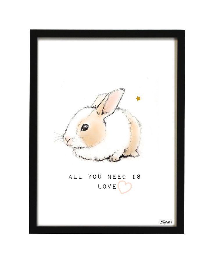 affiche lapin all you need is love : Décoration pour enfants par lillybabs