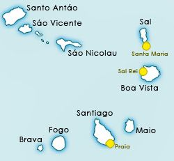 Info and facts about Cape Verde Islands. The different islands, history, weather, climate, temperatures, hotels, food, restaurants, surfing, diving, beaches