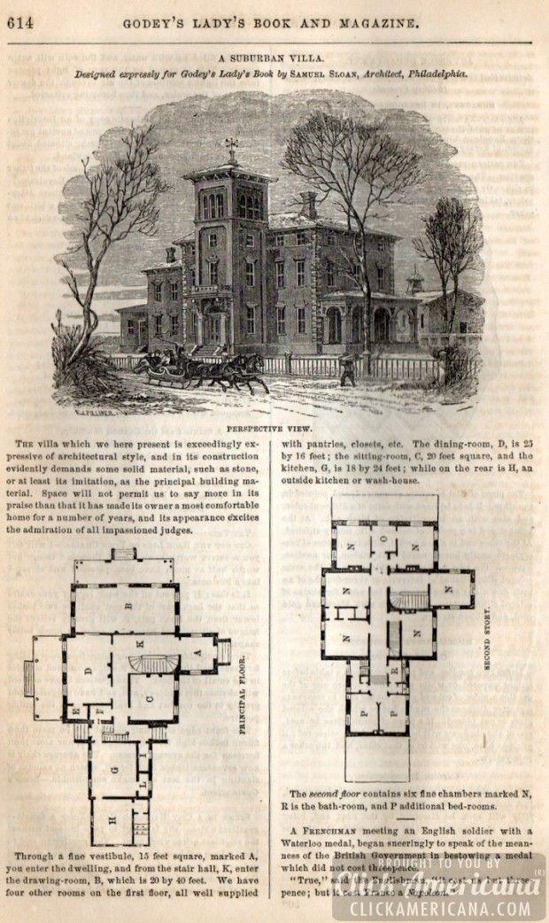79 best vintage house plans 1800s images on pinterest for Antique house plans