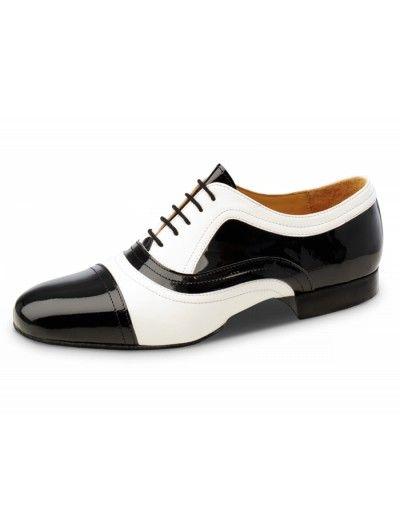Chaussures de danse noire et blanche, La Plata Nueva Epoca en cuir