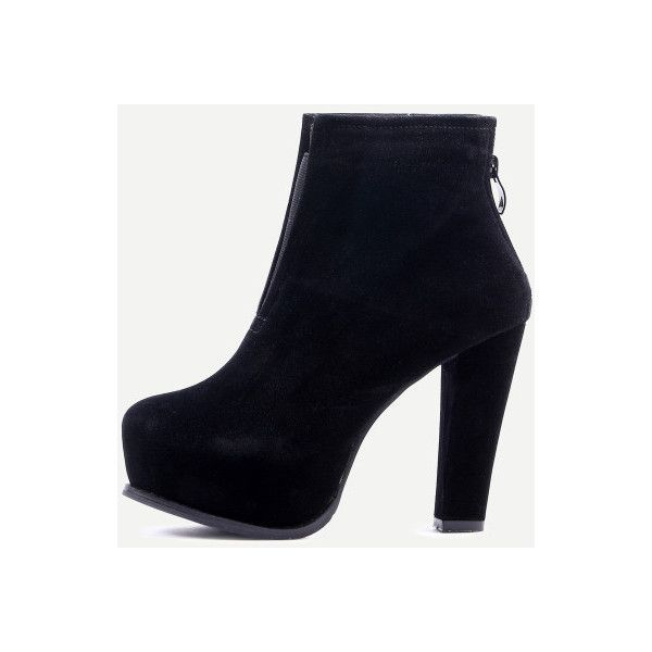 SheIn(sheinside) Black Suede High Heel Boots ($41) ❤ liked on Polyvore featuring shoes, boots, black, chunky high heel boots, black high heel boots, high heel platform boots, black suede boots and chunky-heel boots