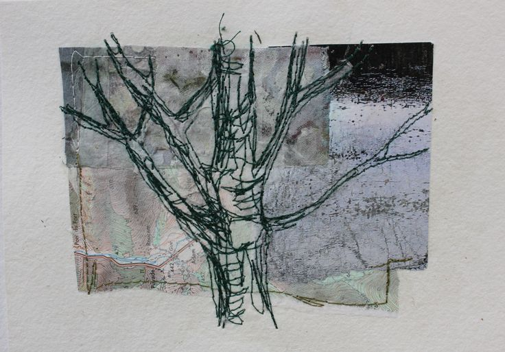 Mote Park Tree 4 (sold) £35 on 7x5 Collage and stitch(16x12cm watercolour paper)