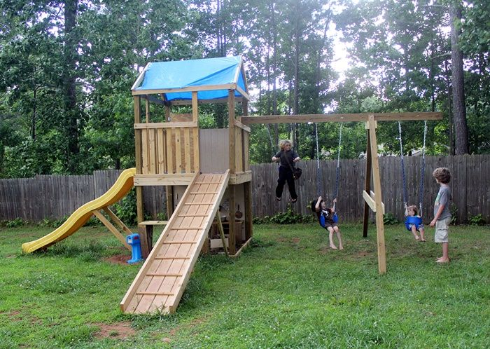 How to build your own swing set free plans woodworking for Build your own wooden playset