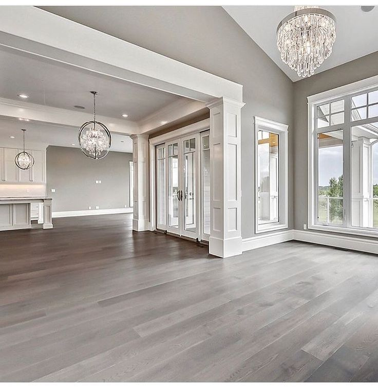 Neutral Grey Gray Griege Empty Home With An Open Concept Layout Farm House Living Room Luxury Home Decor House Design Open concept house grey
