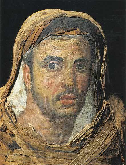 Mummy portrait of a man, Fayum, Roman Egypt. Artist unknown; 2nd or 3rd cent. CE. Now in the Ny Carlsberg Glyptotek, Copenhagen.