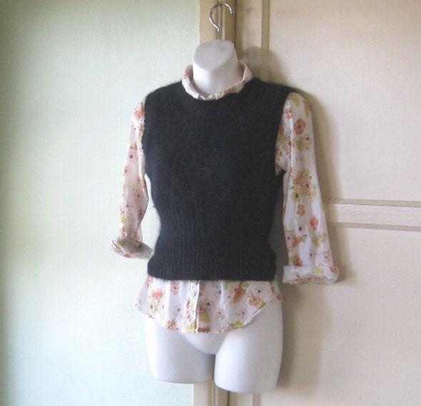 Black Angora Blend Sweater Vest - Small, Sleeveless Black Women's Sweater - Cuddly Solid Black Tank/Sweater Vest by LittleVintageStories on Etsy