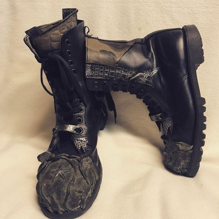 ShoeLovers:) RefunkMyJunk by EvilEve.  #evilevedesign #shoes #leathershoes #recycledart #evileve #hardrock