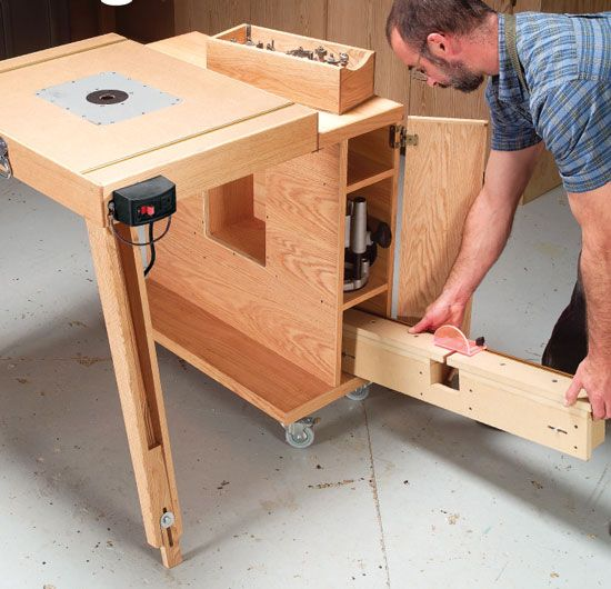 Mobile Router Center This rolling router center has onboard storage for all your router components, folds into a tidy package, serves as an extra work surface and rolls out of the way when you're done! By George Vondriska A router table is one of the most versatile tools you can add to any shop. Whether you're making doors or moldings, router tables are do-it-all tools. This shop-made unit is a …